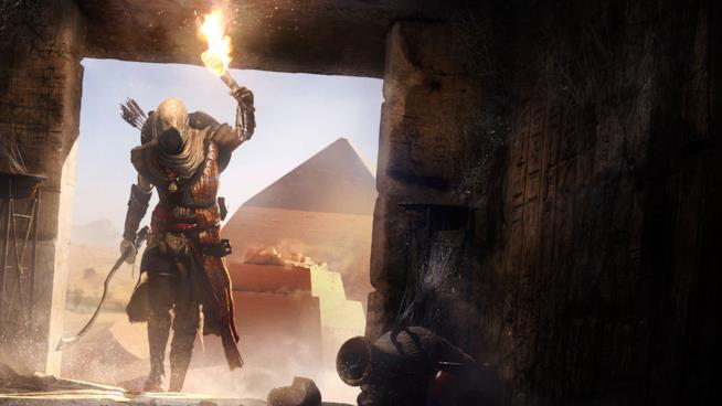 Bayek esplora le rovine di Assassin's Creed Origins