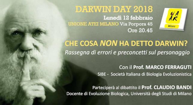 L'evento Darwin Day del 12 febbraio 2018 a Milano