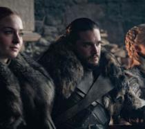 Sansa, Jon e Daenerys nell'episodio 8x01 Grande Inverno