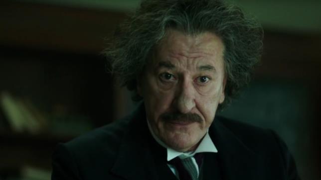 Albert Einstein interpretato da Geoffrey Rush