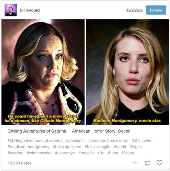 Le due gif di Le terrificanti avventure di Sabrina e American Horror Story