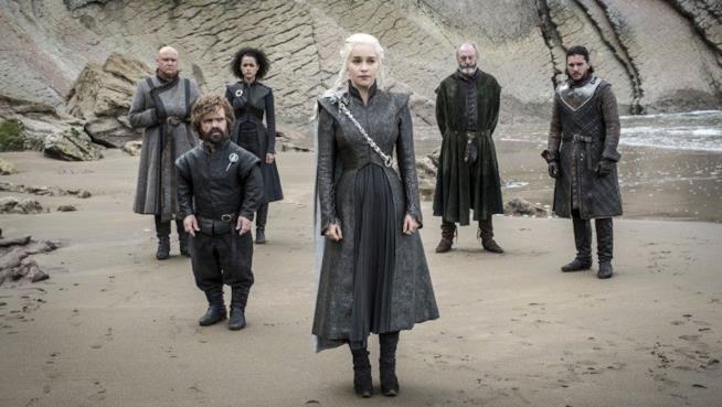 Daenerys in compagnia di Jon Snow, Tyrion e i suoi alleati