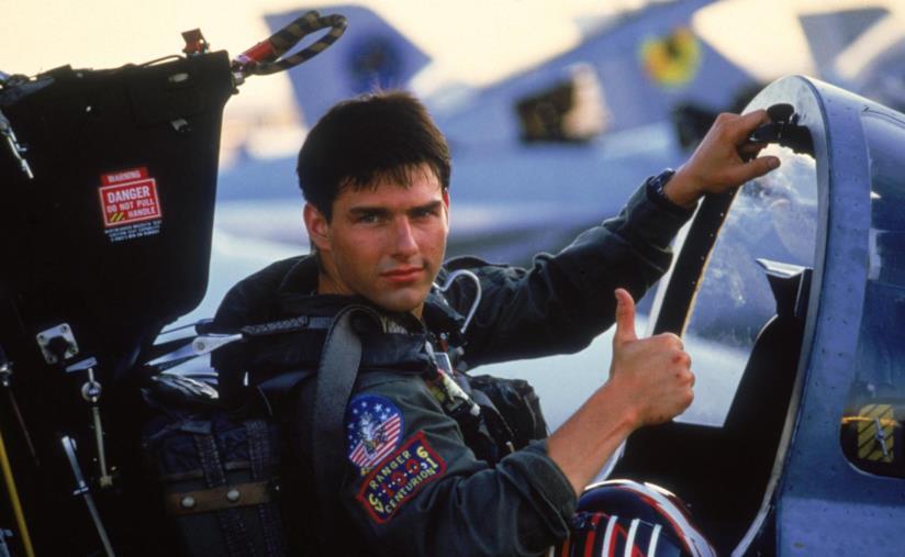 Tom Cruise a bordo dell'F-14 sul set di Top Gun