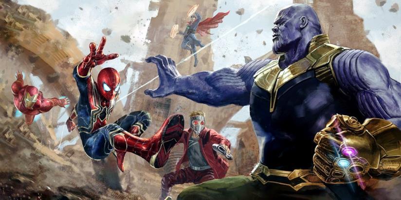 Thanos vs gli eroi Marvel in una concept art