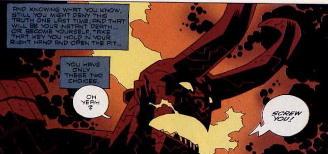 Hellboy con le corna nel fumetto Il Risveglio del Demone