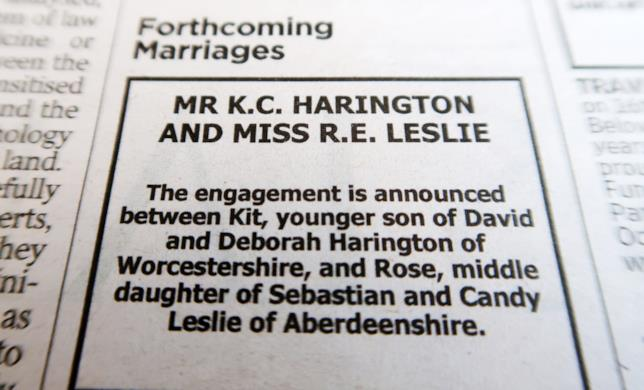 L'annuncio del fidanzamento di Kit Harington e Rose Leslie su The Times of London