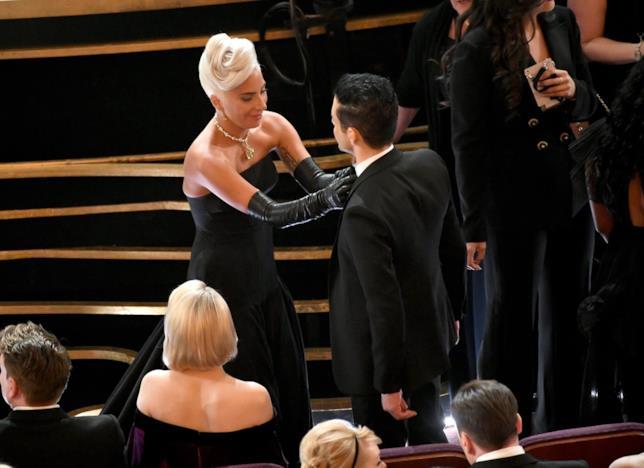 Lady Gaga e Rami Malek durante gli Oscar 2019