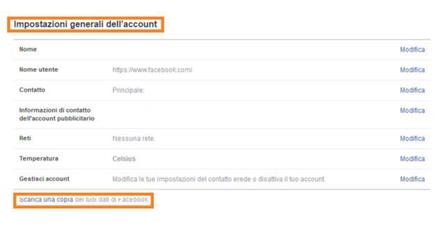 Cosa fare per salvare una copia dei dati del proprio account Facebook