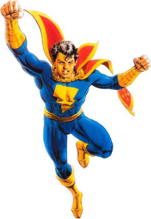 Disegno a figura intera di Freddy Freeman nei panni di Capitan Marvel jr. in volo