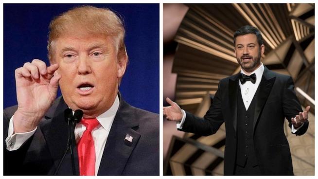 Primo piano di Donald Trump e Jimmy Kimmel