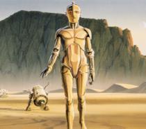 C-3PO e R2-D2 rappresentati in una concept art originale di McQuarrie
