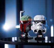 I caschi da esposizione Lego di Boba Fett e dello Stormtrooper