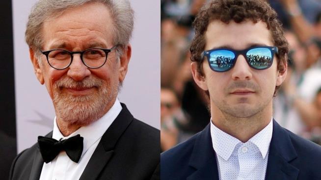 Un collage tra Shia LaBeouf e Steven Spielberg