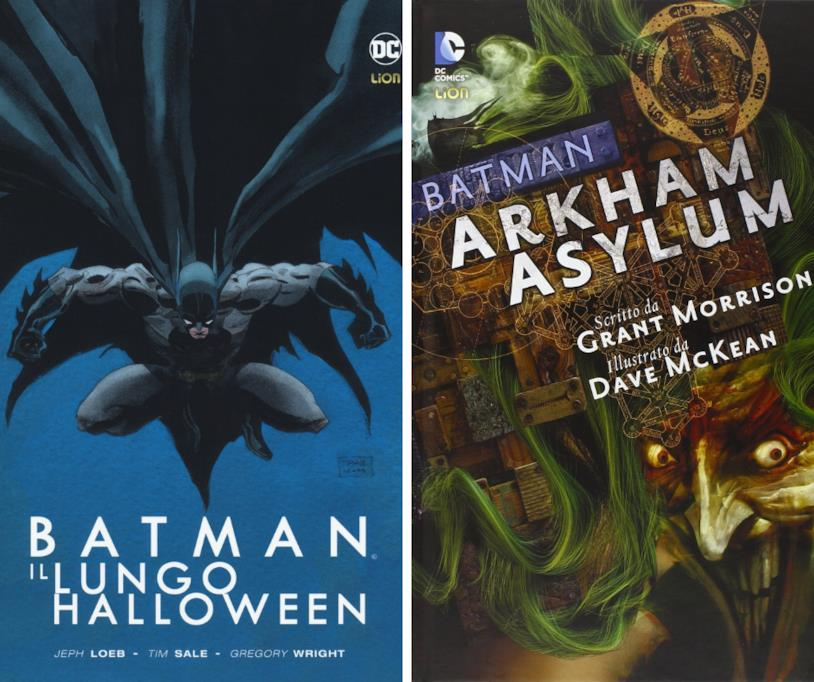 A sinistra la cover del fumetto Batman: Il lungo Halloween, a destra la cover del fumetto Batman: Arkham Asylum