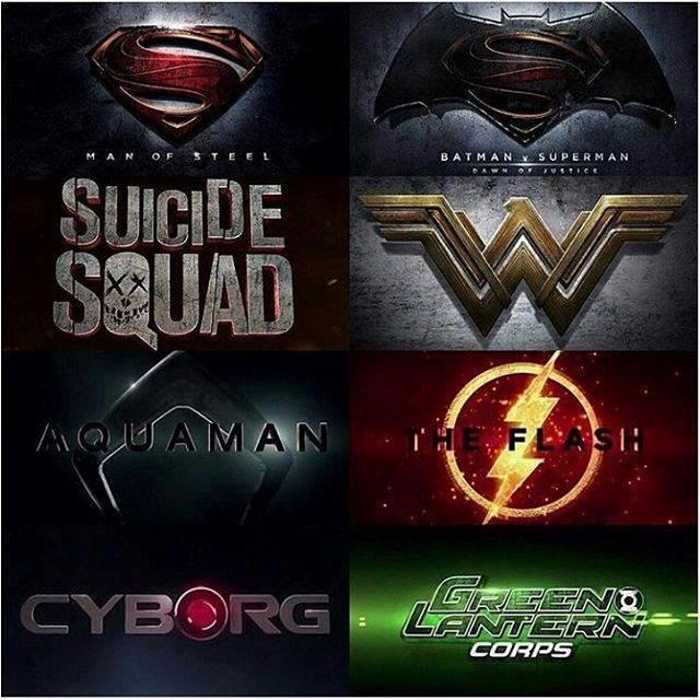 Manifesto con i loghi e i titoli dei film DC