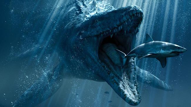 Il Mosasaurus di Jurassic World alla caccia di uno squalo