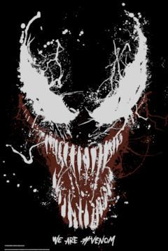 Il volto di Venom in macchie di vernice