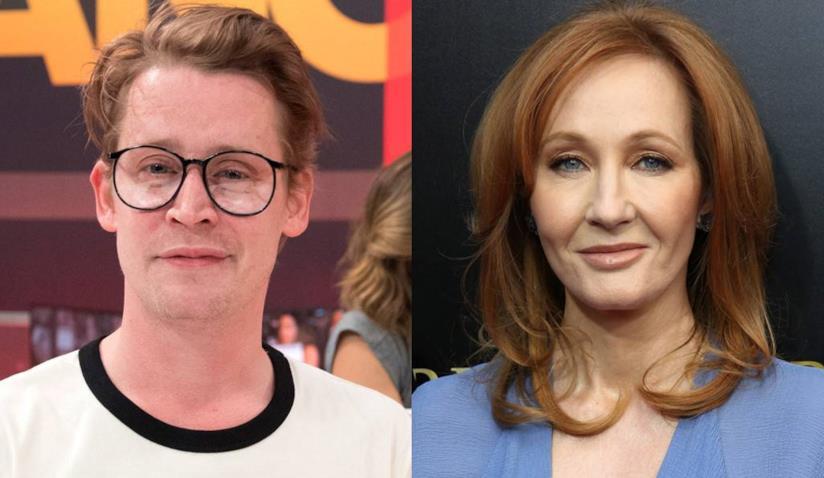 Primi piani di Macaulay Culkin e J. K. Rowling