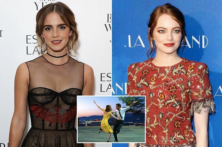Emma Watson accanto a Emma Stone e a una scena di la La Land