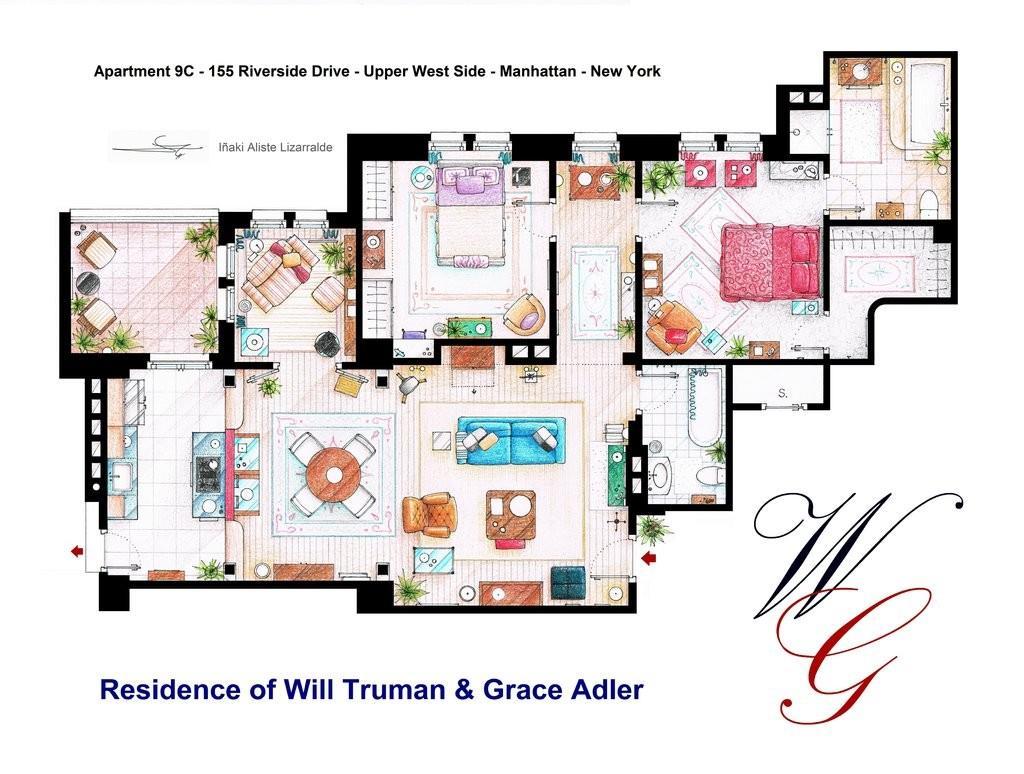 Le planimetrie splendide degli appartamenti pi famosi for Planimetrie della casa online