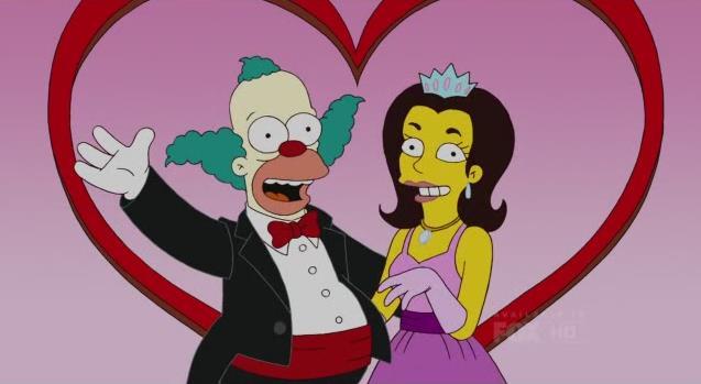 Krusty insieme all'ex moglie, la Principessa Penelope