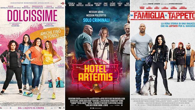 I poster dei film Dolcissime, Hotel Artemis, Una famiglia al tappeto