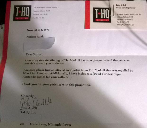 La lettera di scuse di Nintendo Power a Nathan Runk, vincitore del concorso dedicato a The Mask 2