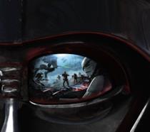 Primo piano sull'occhio di Vader in Star Wars Battlefront