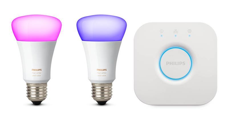 Philips Hue White and Color Ambiance Starter Kit con 2 Lampadine E27 e un Bridge, 9.5 watt