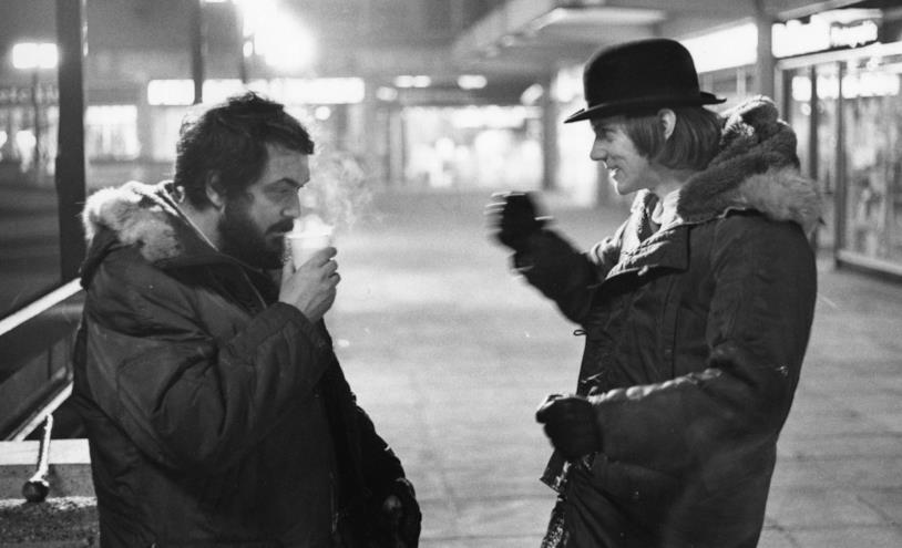 Kubrick e McDowell sul set del film