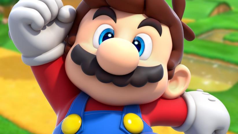 Un primo piano della mascotte Nintendo Super Mario