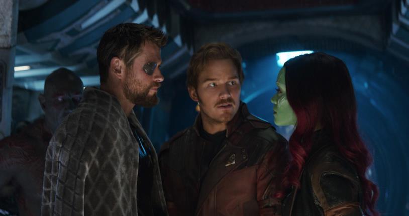 Chris Hemsworth, Chris Pratt e Zoe Saldana nei panni di Thor, Star-Lord e Gamora in Avengers: Infinity War