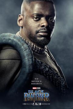 Daniel Kaluuya W'Kabi nel character poster del film Black Panther