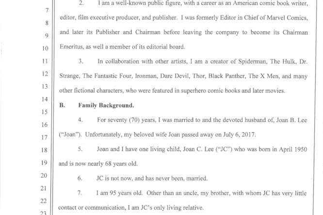 La prima pagina della dichiarazione giurata di Stan Lee