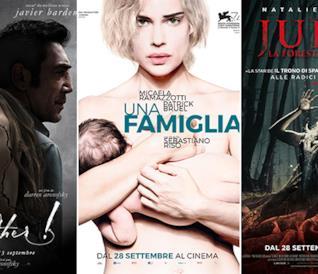 I poster dei film Madre!, Una Famiglia e Jukai - La Foresta dei Suicidi