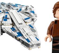 Primo piano del Millenium Falcon e Solo in versione omino di LEGO