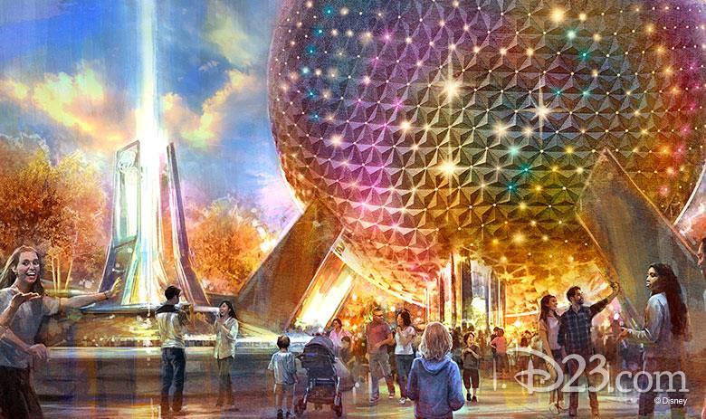 Concept art dell'attrazione Spaceship Earth di Epcot