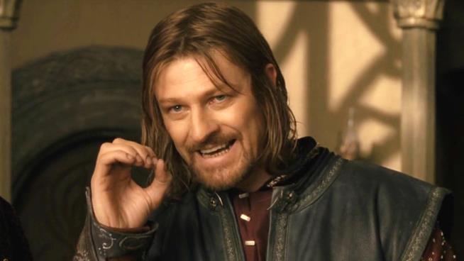 Sean Bean in una scena de La Compagnia dell'Anello che è diventata un celebre meme