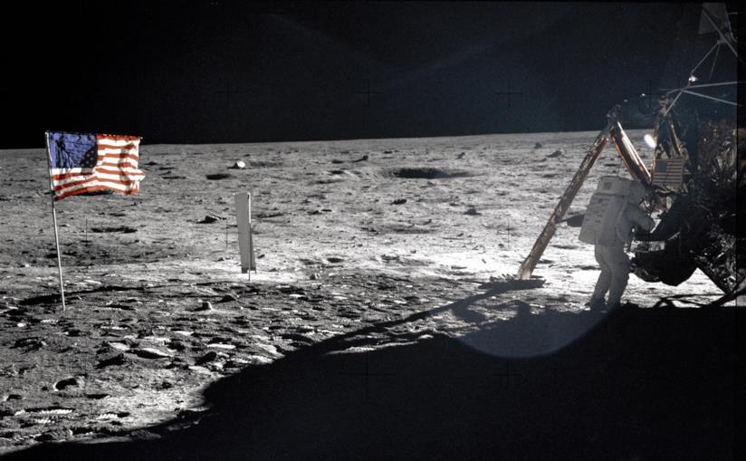 Uno scatto dell'allunaggio avvenuto il 20 luglio del 1969