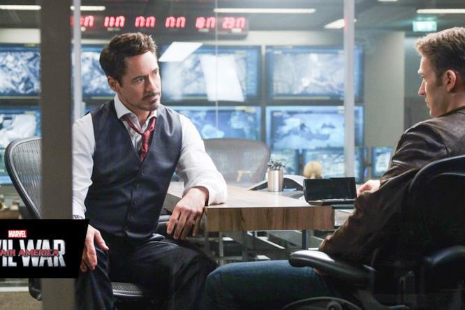 Tony Stark e Steve Rogers in Captain America: Civil War