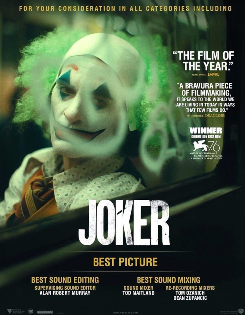 Il secondo poster di Joker per gli Oscar