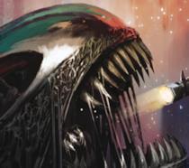 Cover di Aliens 5 con uno xenomorfo nello spazio