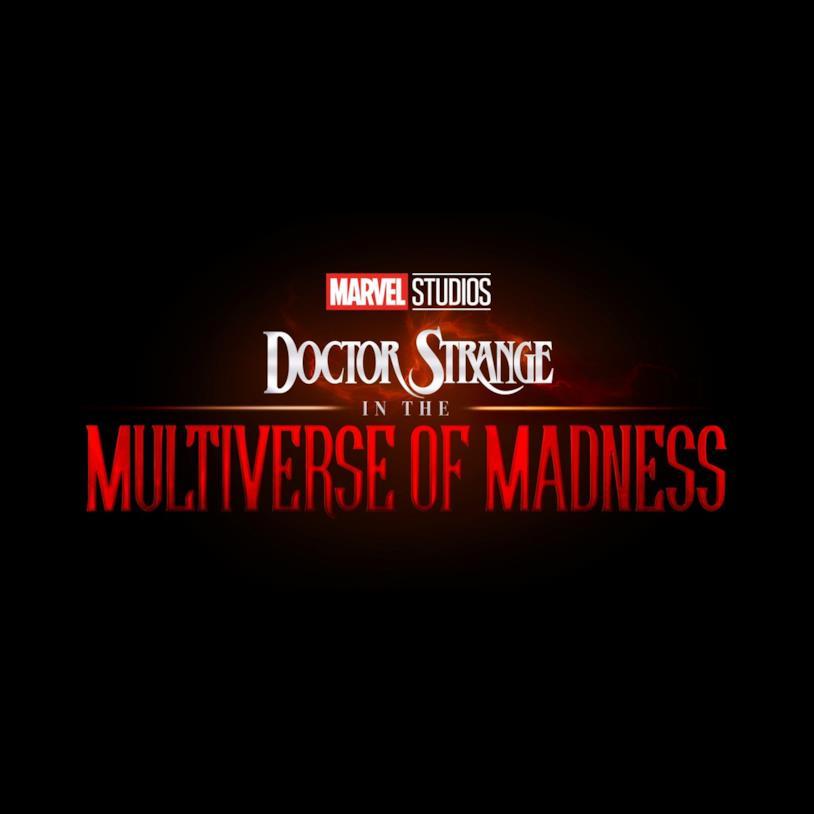 Il logo rosso e bianco su sfondo nero di Doctor Strange in the Multiverse of Madness