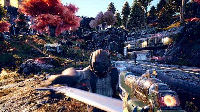 Un nemico attacca il protagonista di The Outer Worlds