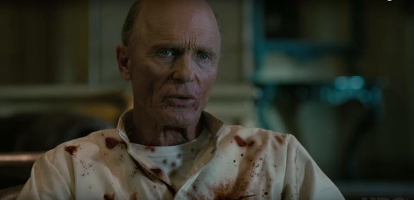 L'Uomo in Nero/William, sporco di sangue nella terza stagione di Westworld.