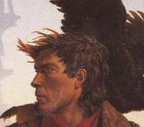Il pistolero de La Torre Nera disegnato di profilo con un falco sulla spalla