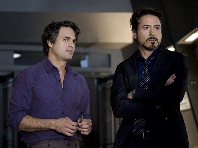 Mark Ruffalo e Robert Downey Jr. come Bruce Banner e Tony Stark in The Avengers