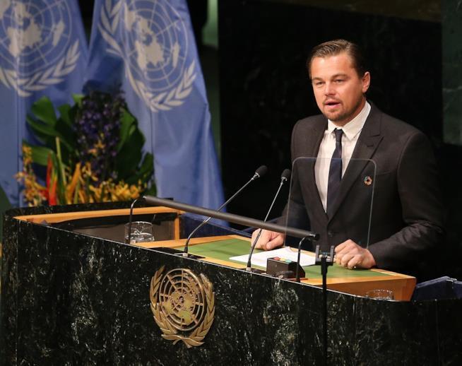Primo piano di Leonardo DiCaprio all'ONU
