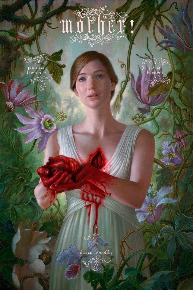 Jennifer Lawrence offre il suo cuore nell'illustrazione della locandina di Mother!