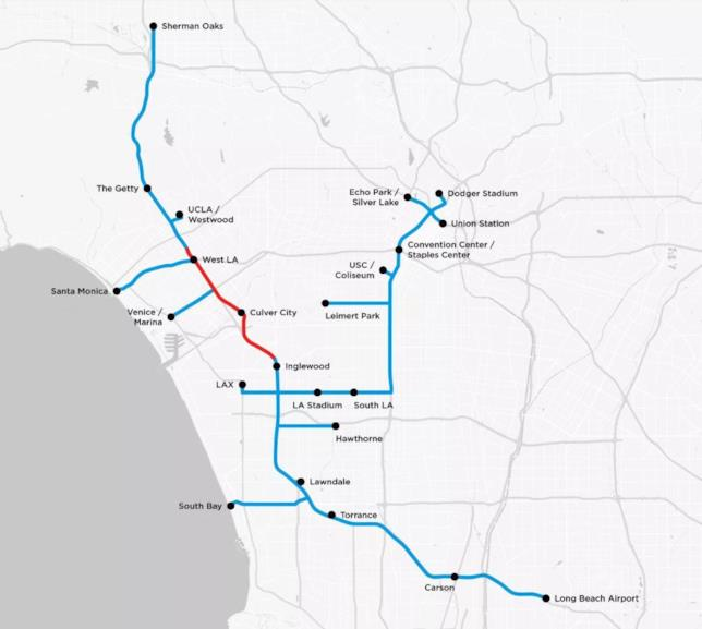 La mappa del sistema sotterraneo studiata da The Boring Company per Los Angeles